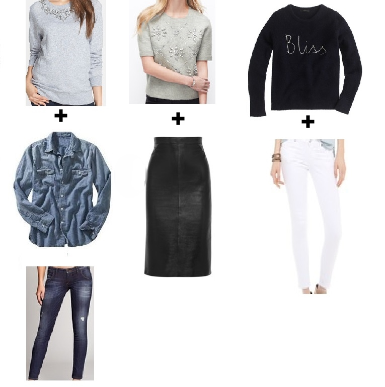 Image Source: Look 1: MichaelKors/Guess/Guess  Look2: AnnTaylor/GivenchyShopBop  Look 3: JCrew/CitizensforHumanityShopBop