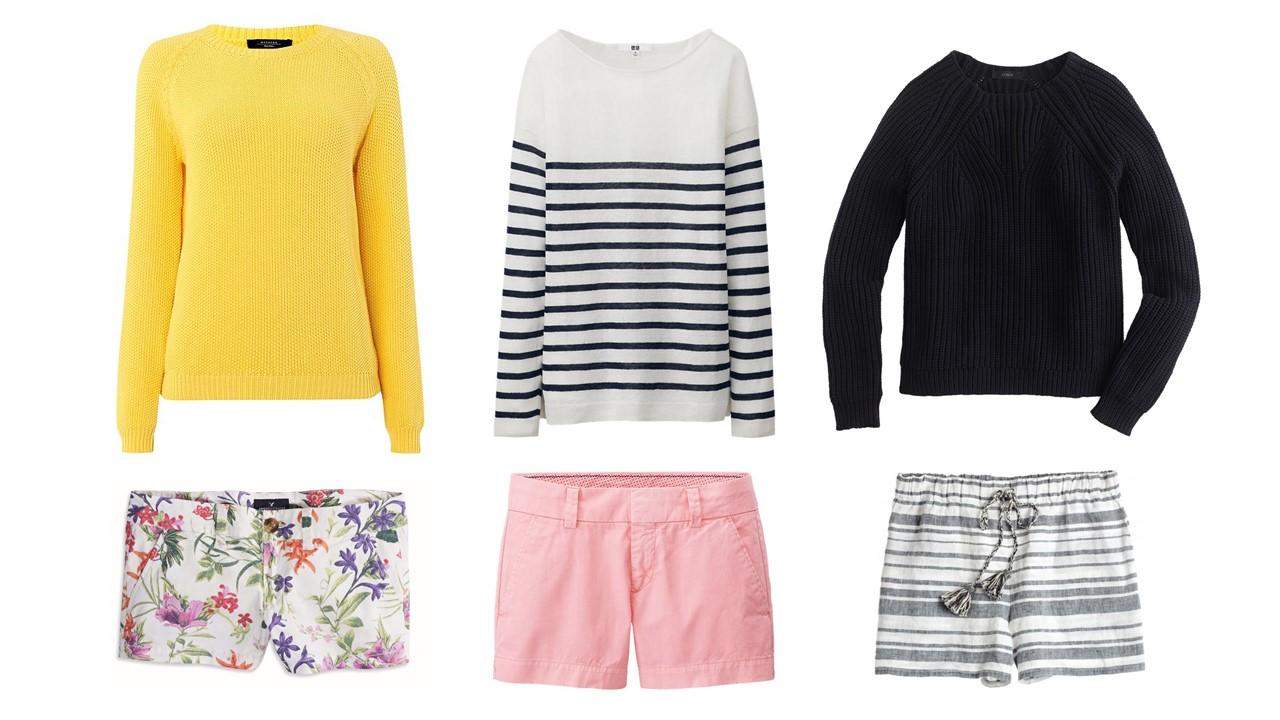 Look 1:  Sweater / Shorts , Look 2:  Sweater / Shorts , Look 3:  Sweater / Shorts