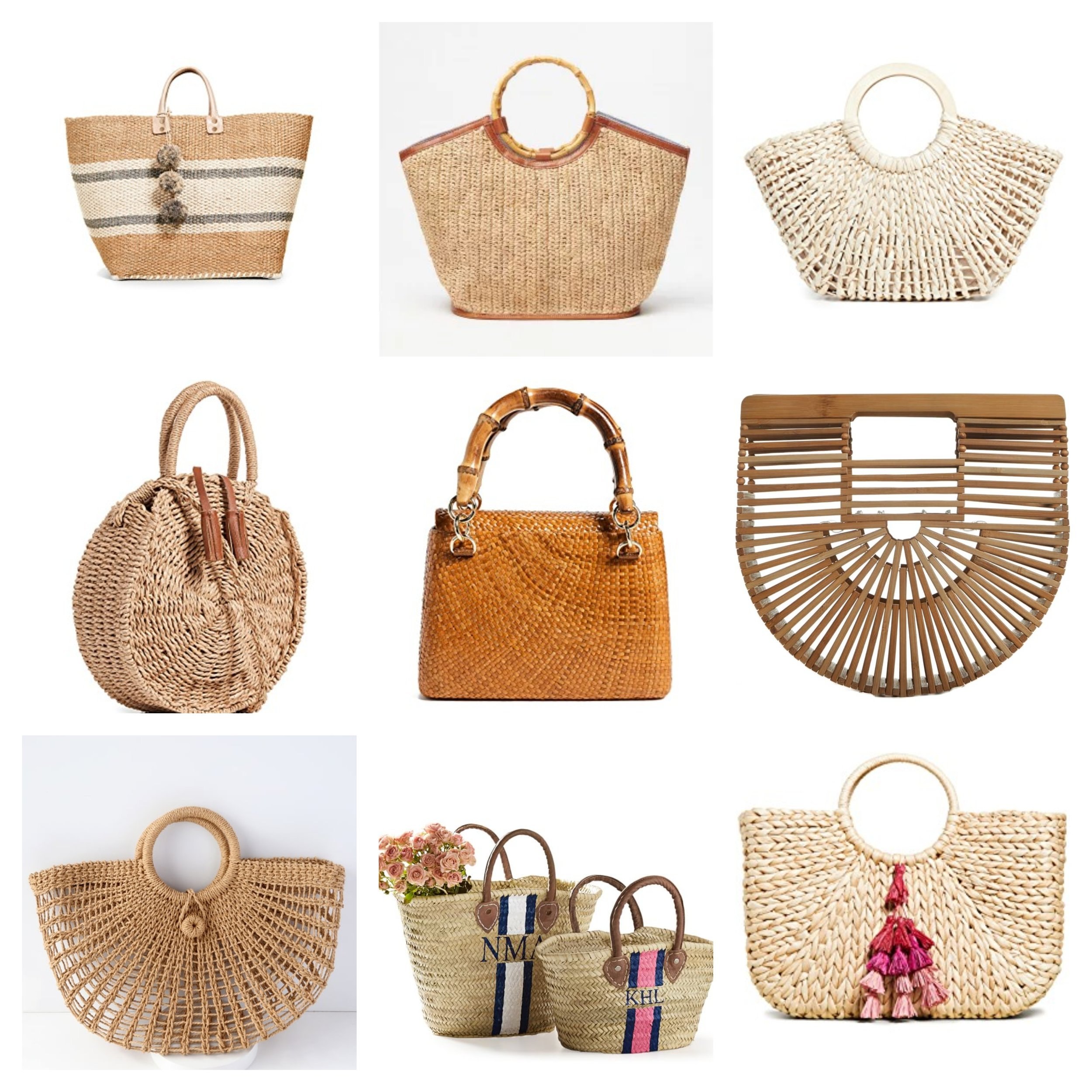 Photo Credit: Line 1 -  Mar y Sol Cyprus Tote / Tanya Tote /  Hat Attack Fan Bag   Line 2 -  Hat Attack Global Crossbody Bag /  Serpui Marie Leona Found Matte Bag  /  Cult Gia Mini Ark Handbag   Line 3 -  Market Marvel Woven Tote /  Hand Painted Straw Bag /  Hat Attack Round Handle Bag