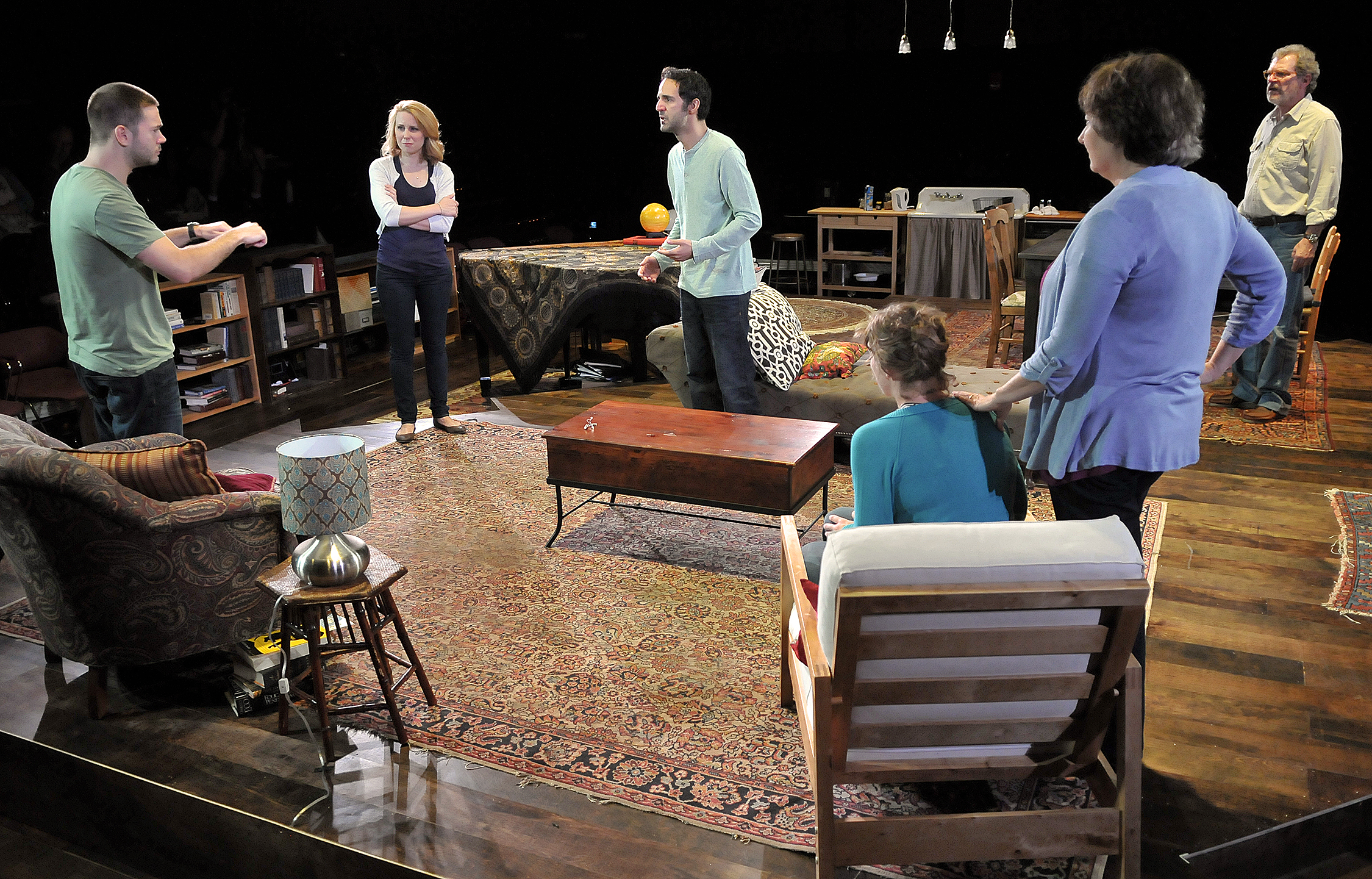 James Caverly, Erica Spyres, Nael Nacer, Kathryn Miles, Patrick Shea, and Adrianne Krstansky in the SpeakEasy Stage Company production of TRIBES directed by M. Bevin O'Gara. Photo: Craig Bailey