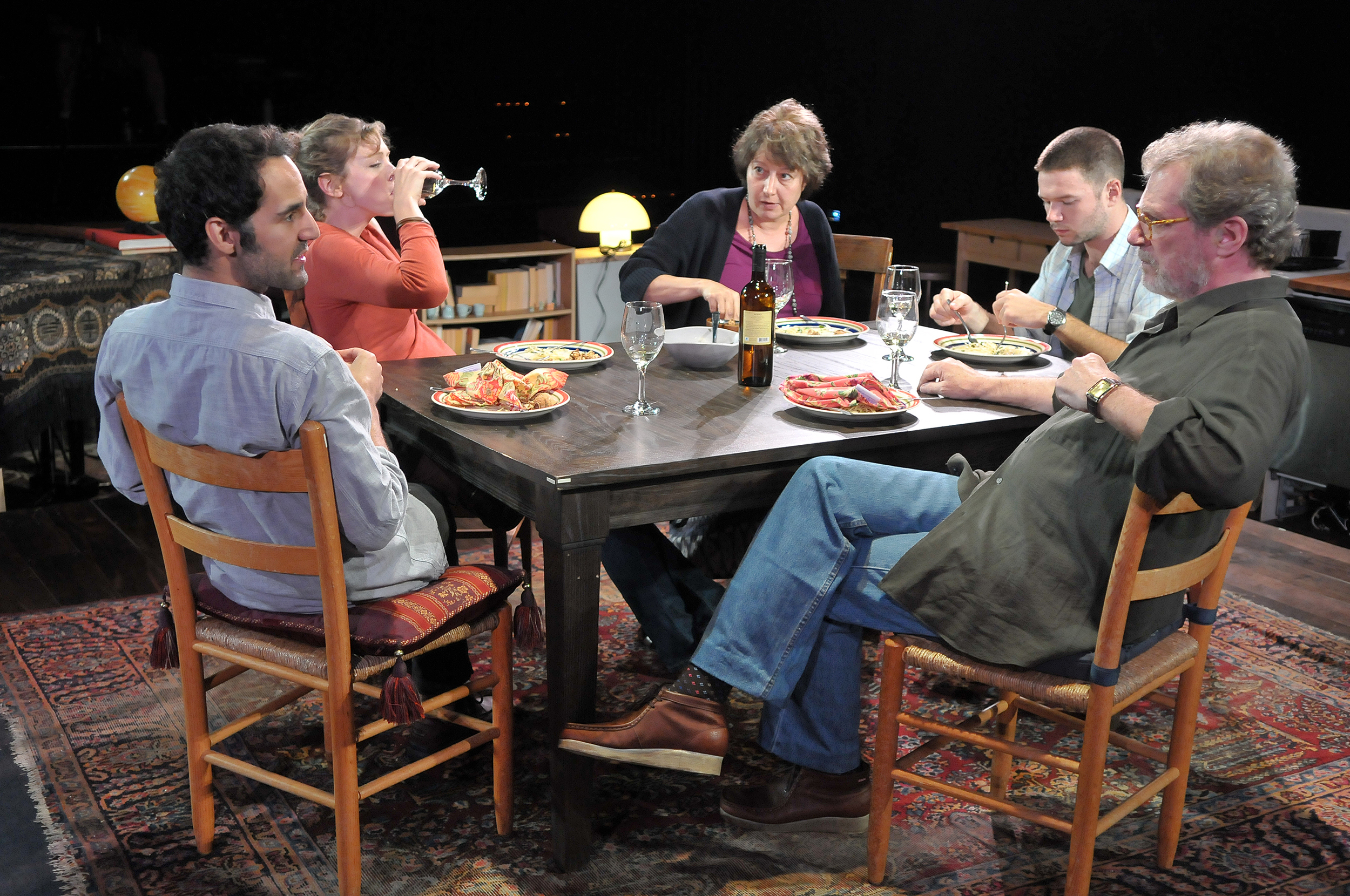 Nael Nacer, Kathryn Miles, James Caverly, Adrianne Krstansky, and Patrick Shea in the SpeakEasy Stage Company production of TRIBES directed by M. Bevin O'Gara. Photo: Craig Bailey / Perspective Photo