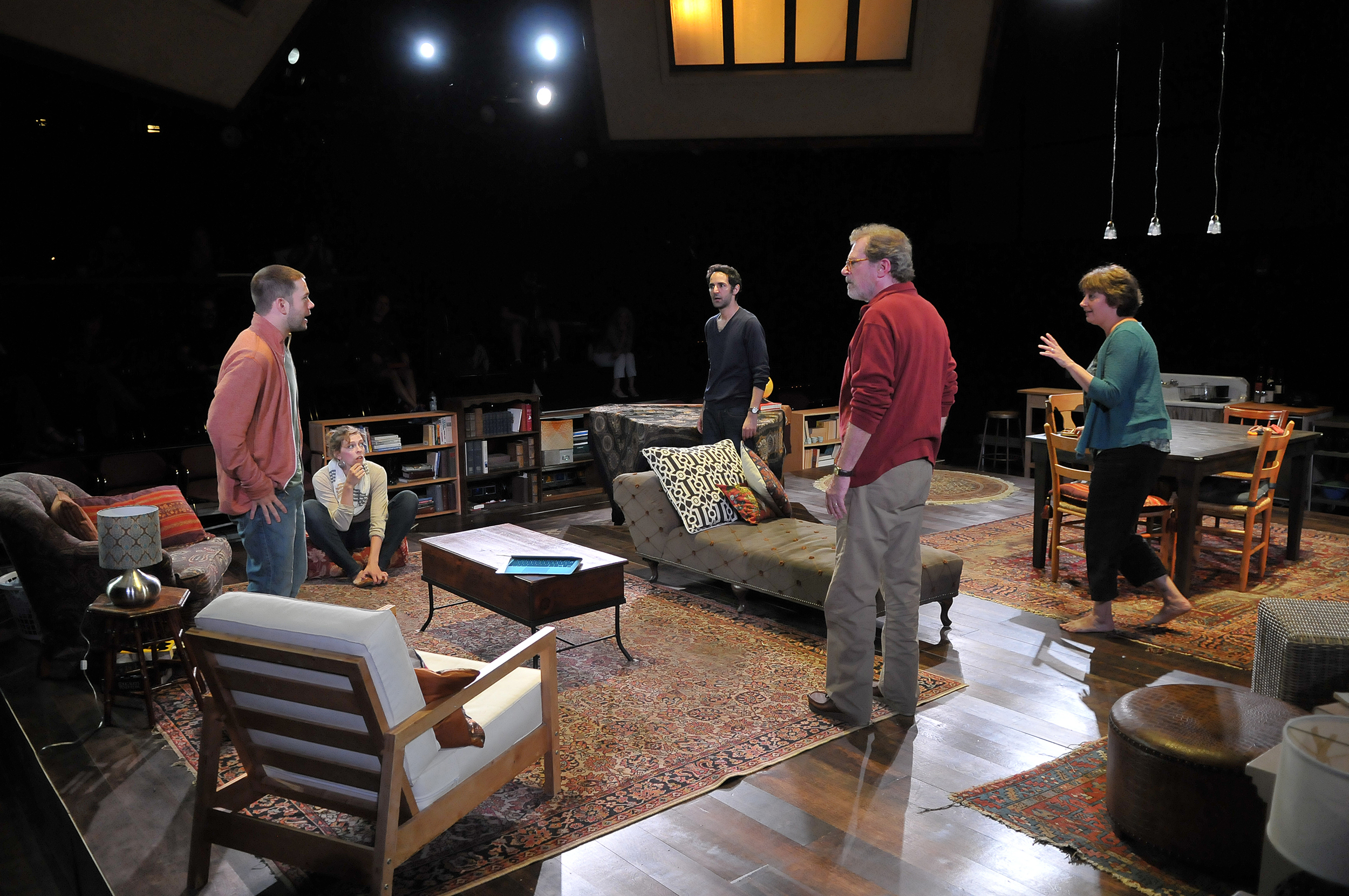 James Caverly, Kathryn Miles, Erica Spyres, Patrick Shea, Adrianne Krstansky, and Nael Nacer in the SpeakEasy Stage Company production of TRIBES directed by M. Bevin O'Gara. Photo: Craig Bailey