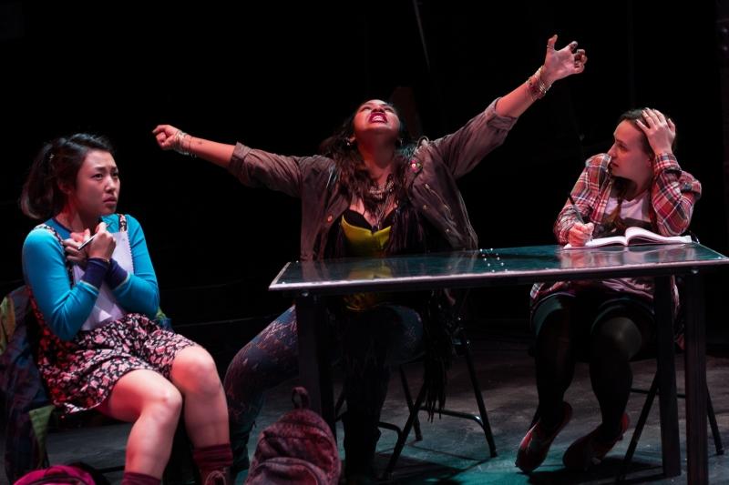 Pearl Shin, Ally Dawson, and Stephanie Recio in The Chronicles of Kalki . Photo: Paul Fox