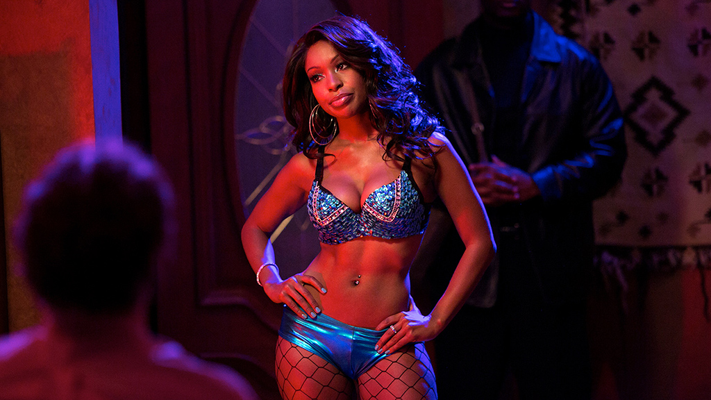 Mochaccino (Porscha Coleman), a celebratory stripper hired by T.J. Miller's Erlich in Silicon Valley. (Photo Courtesy HBO.com)