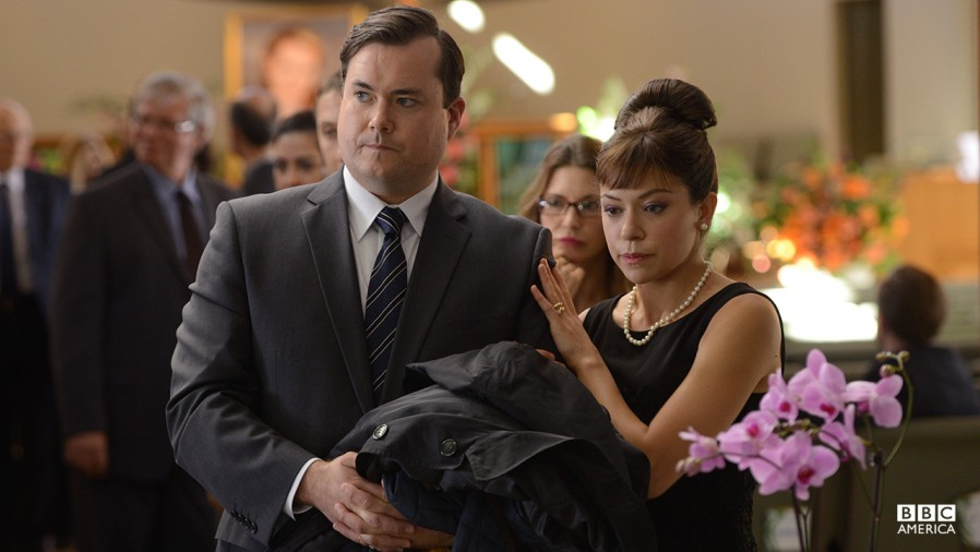 Alison and Donnie (Tatiana Masiany and Kristian Bruun) attend Aynsley's funeral. (Courtesy BBC America)