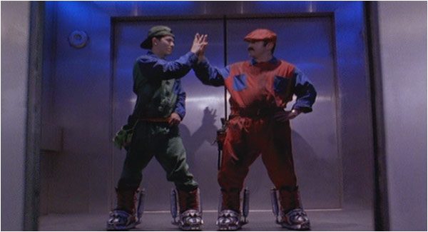 Mario and Luigi (Bob Hoskins and John Leguizamo) from the Super Mario Bros. live-action film. (Courtesy Hollywood Pictures)