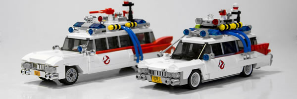 LEGO's new Ghostbusters Ecto-1 set - original fan submission on left and the official release on right. (Courtesy Collider.com)