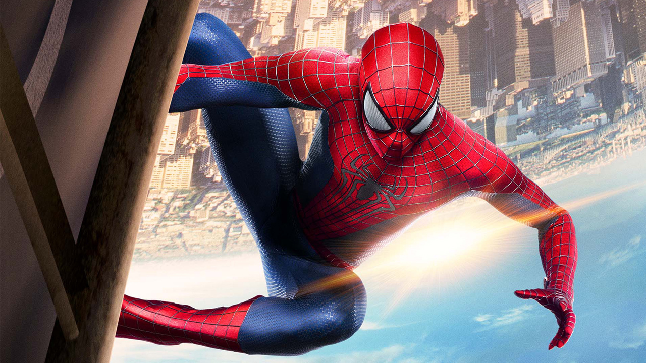 A very rendered Spider-Man hangs (upside down, I guess?) watching over his city... which is decidedly below him so he's looking up at a pretty cloud? (Courtesy Sony Pictures)