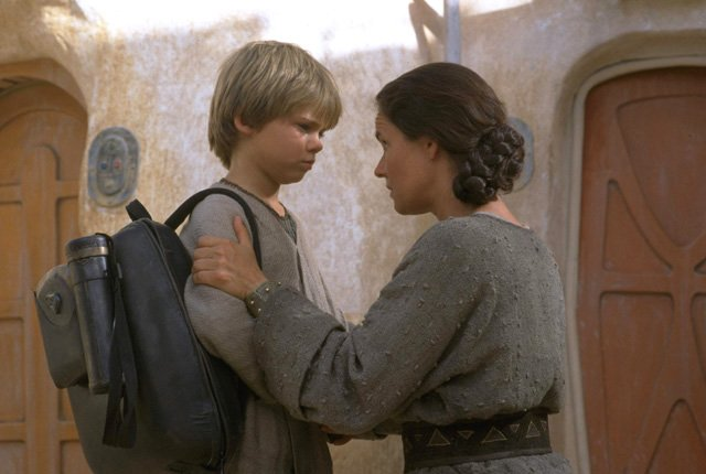 Anakin Skywalker bids his mother farewell on Tatooine, and will never be the same. (Courtesy Lucasfilm)