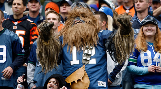 Not quite Chicago, but Chewbacca makes an appearance in Seattle… so it's kinda close? (Courtesy CBS Sports)