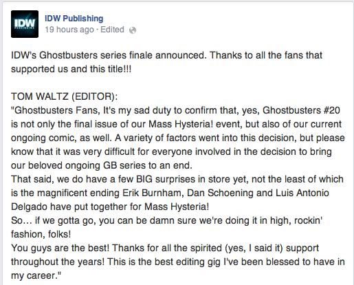 Editor Tom Waltz confirms that the on-going will in fact, not be going on via Facebook.