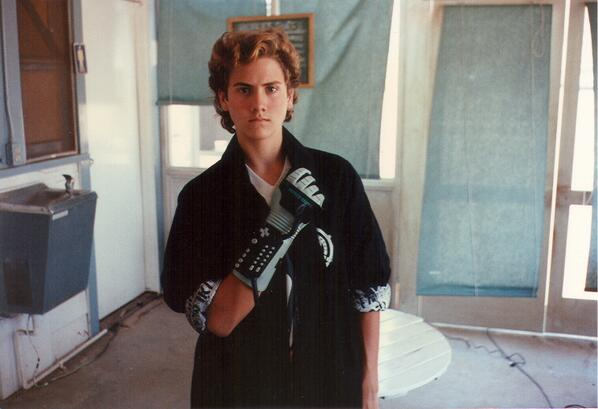 Lucas and his oh-so-bad Power Glove in a behind the scenes image courtesy of director Todd Holland.
