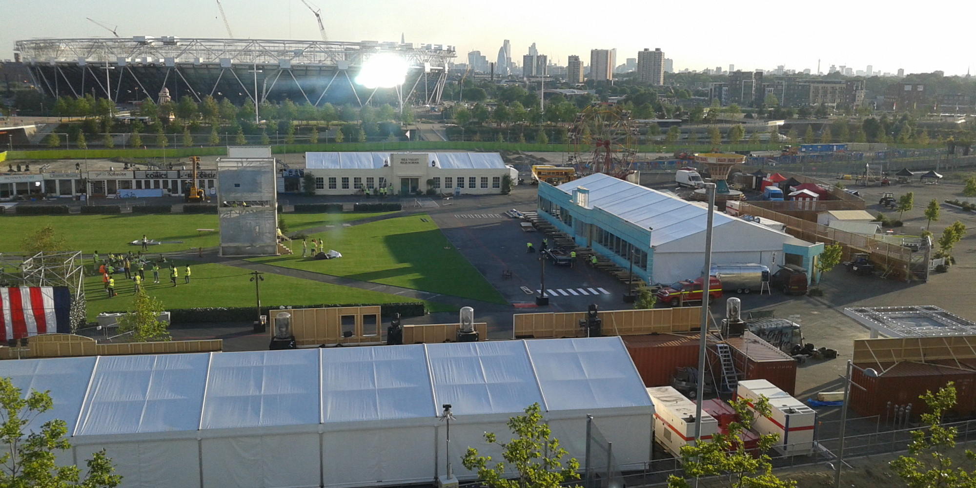 An aerial view of the Olympic Park and the recreated Hill Valley Courthouse Square. (Courtesy Huffington Post)