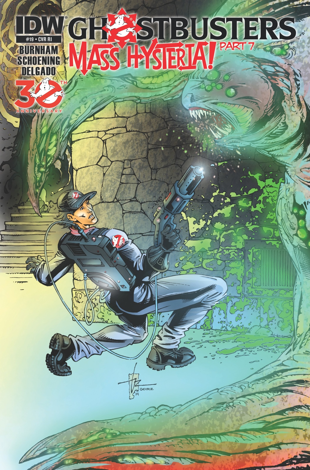 Ron channels his inner Pitfall Harry for the most recent cover of Ghostbusters #19 (Courtesy IDW)