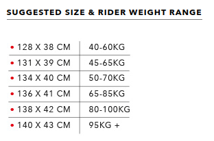 Size and weight range is indicative only based on normal riding conditions. Actual range will vary based on rider preference, skill level and strength of wind.