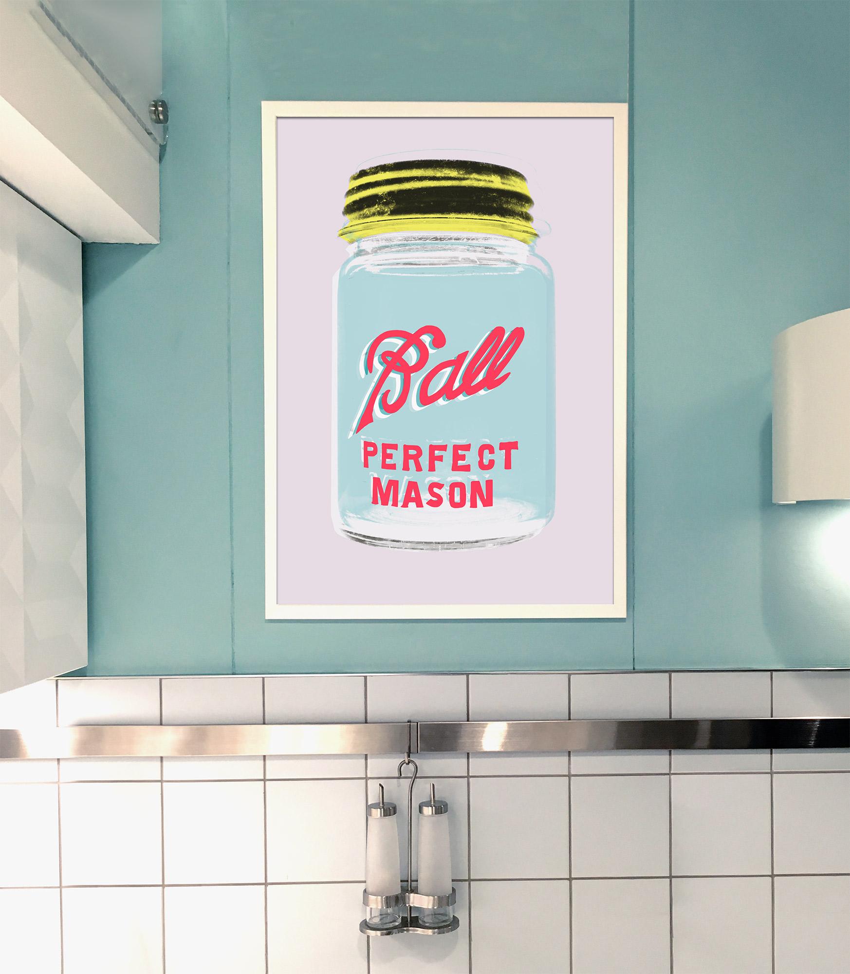 Ball mason jar art print