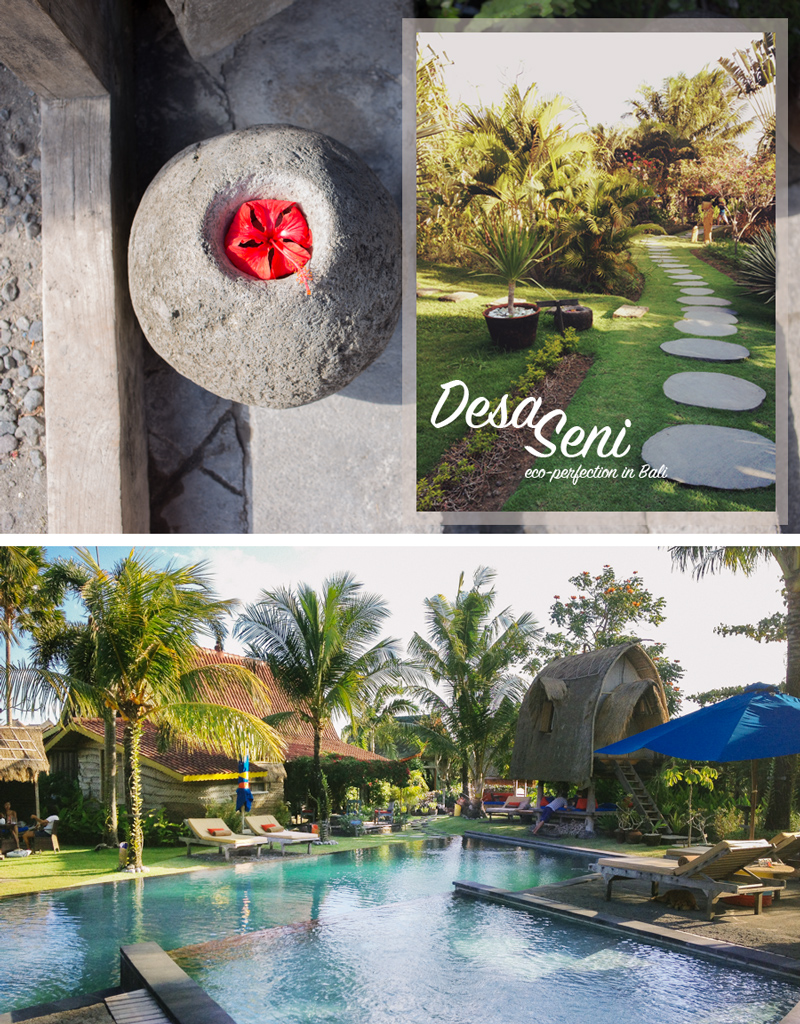 Upon entering Desa Seni, the steps are lined with hibiscus blossoms. Center stage is the saltwater lap pool glimmering in the morning light.
