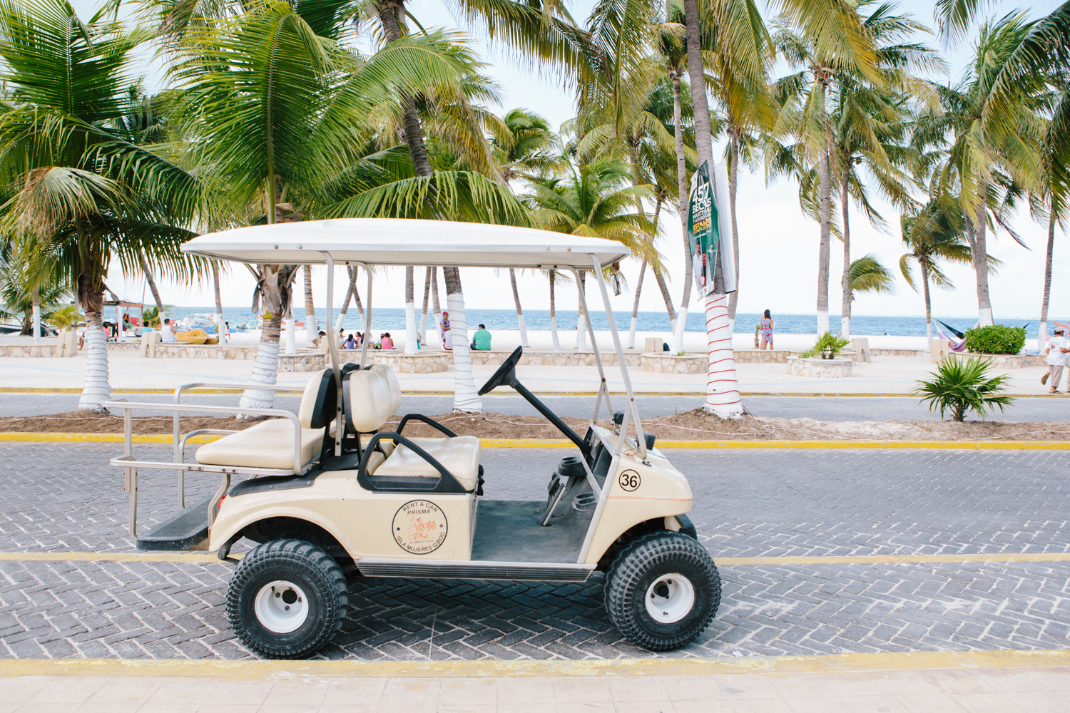 With the exception of taxis, cars are not allowed on the island. My freshly rented golf cart.