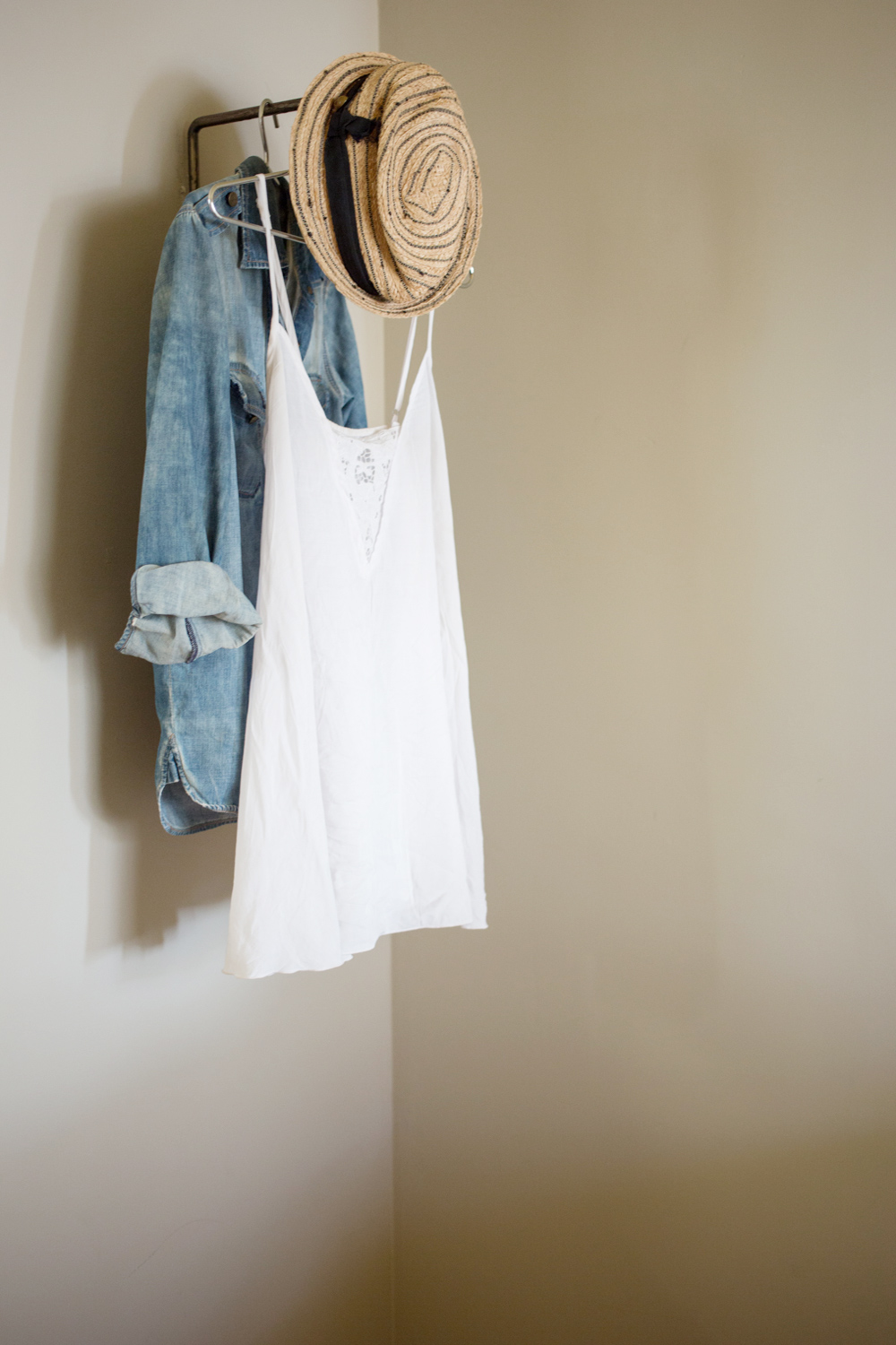 Straw hat ,  chambray shirt , white dress.