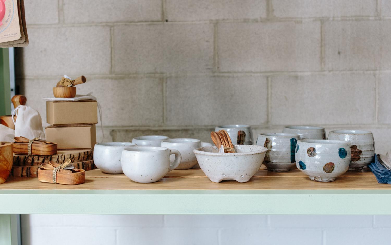 Ceramics and other handmade goods.