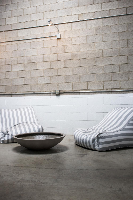 Cushiony seating right outside the yoga studio.