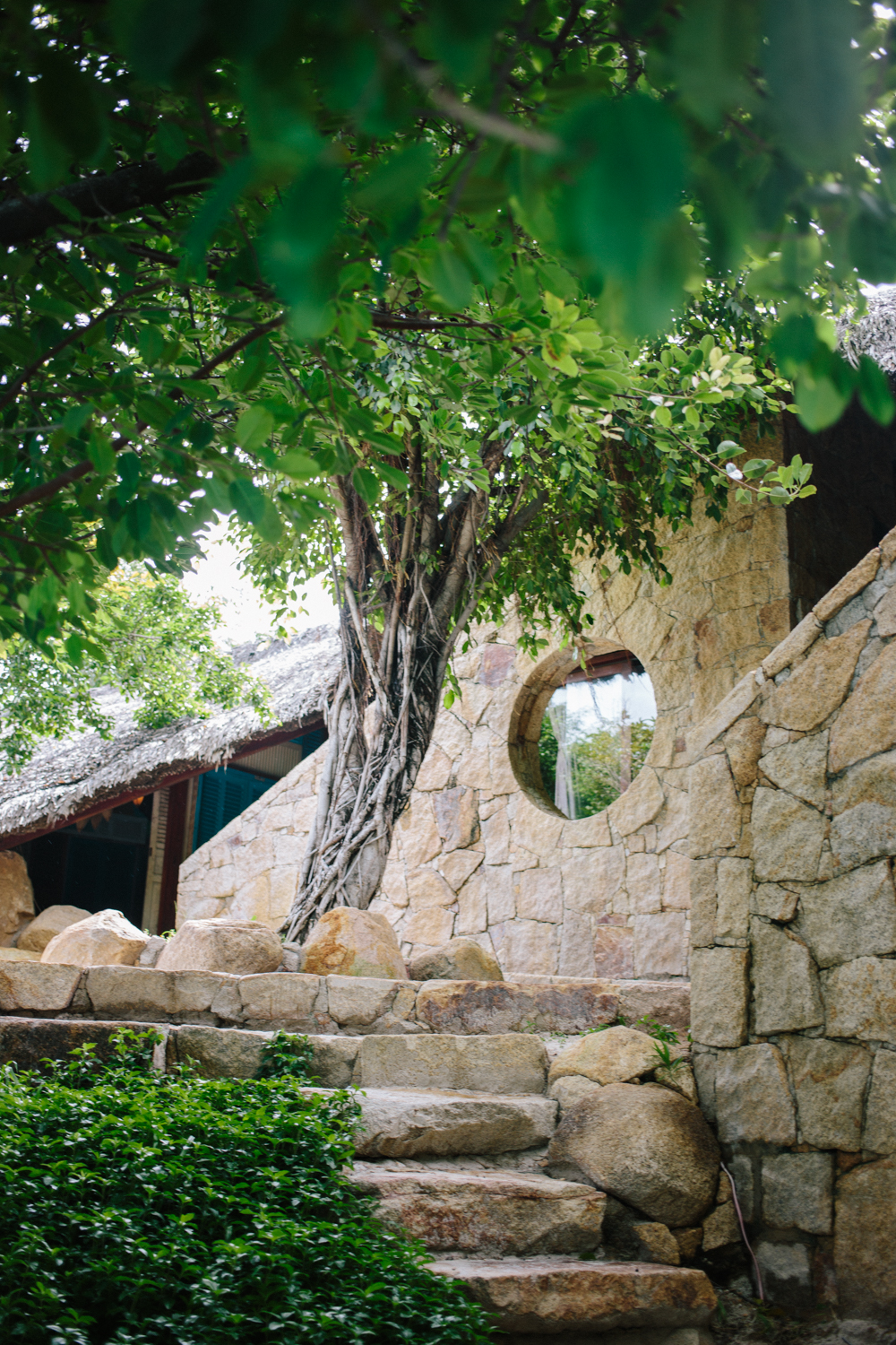 Each hut is built with locally quarried stone