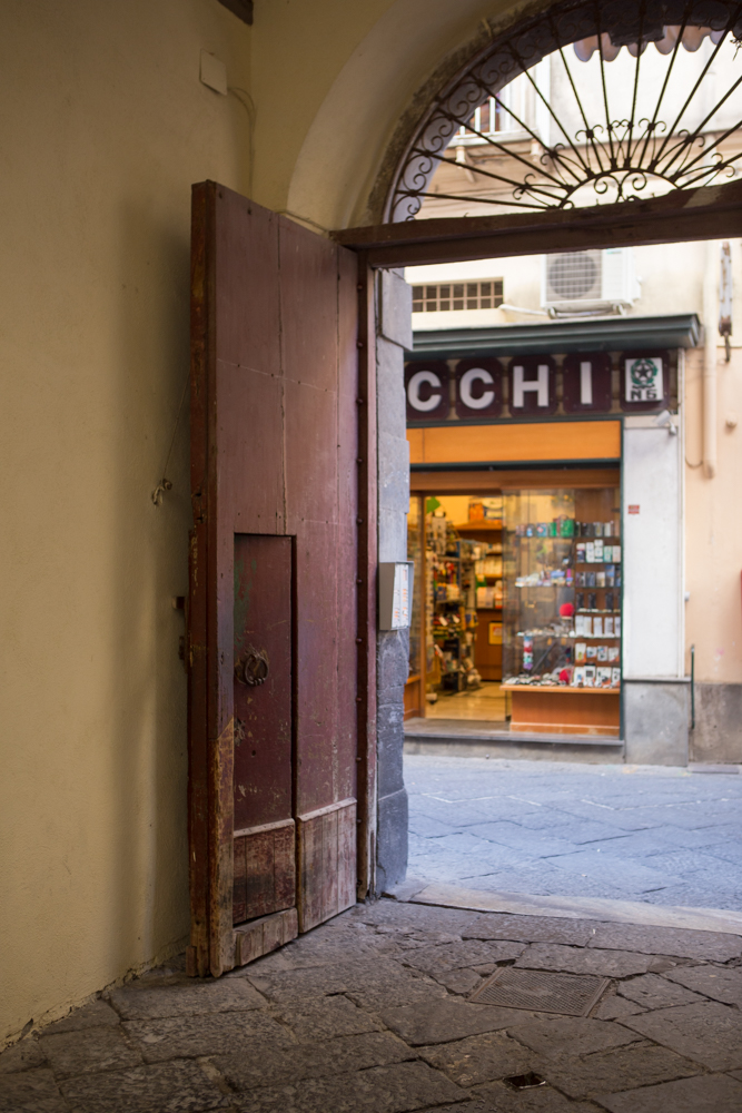 Entrance to Maison Tofani from Via S. Cesareo in old town Sorrento