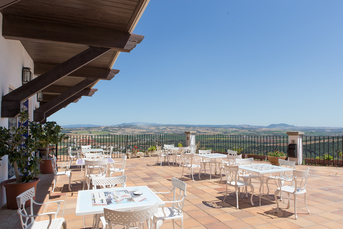 The terrace at  Parador  is a great setting to indulge in wine and tapas while catching the sunset