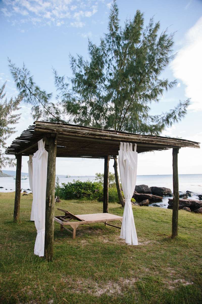 Open-air massage spot with sea views.