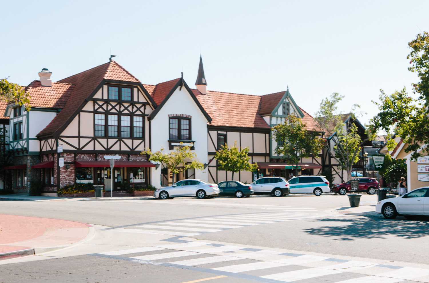 The quaint streets of downtown Solvang, California.