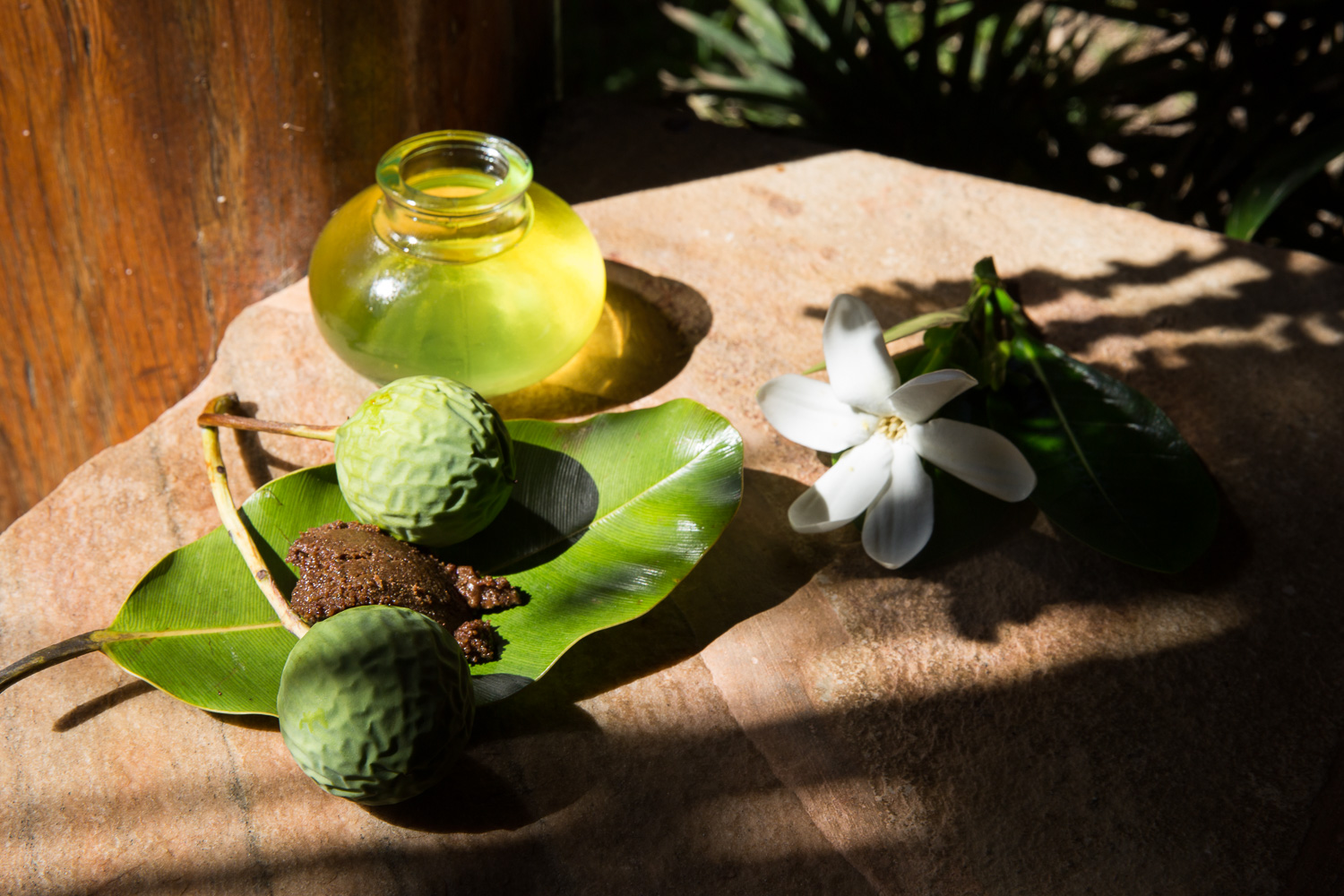 A few of the natural ingredients used in massage and beauty treatments - monoi oil, tamanu, tiare, Tahitian vanilla.