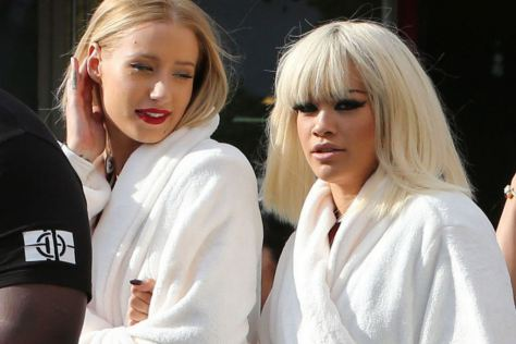 Iggy Azalea and Rita Ora behind the scenes of Black Widow music video.