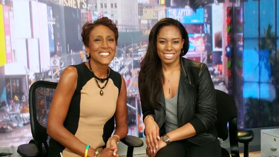 On the set of ABC's Good Morning America with anchor Robin Roberts