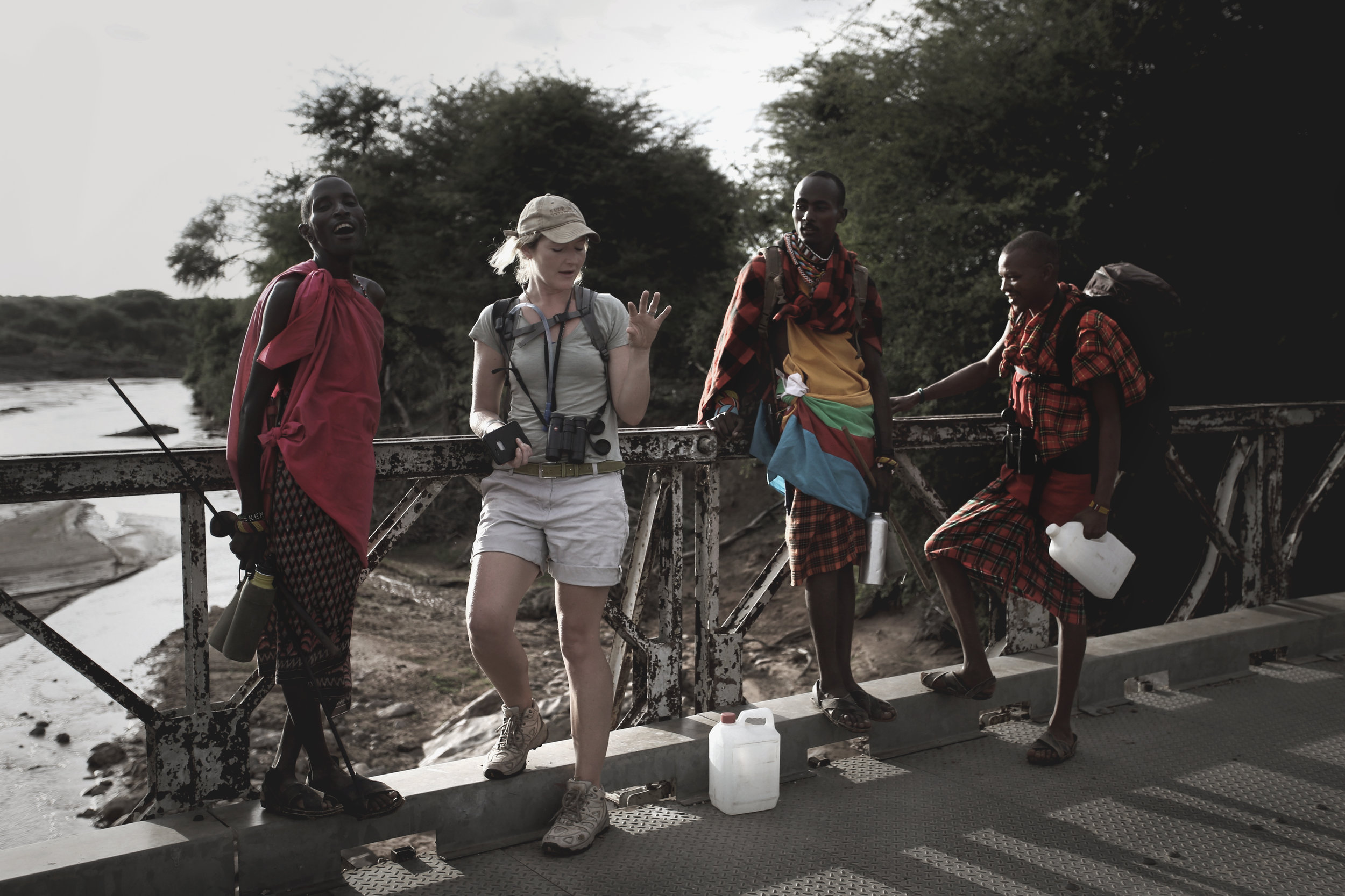 Camel Trekking Safari - on the Barsalinga Bridge over the Ewaso Nyiro River