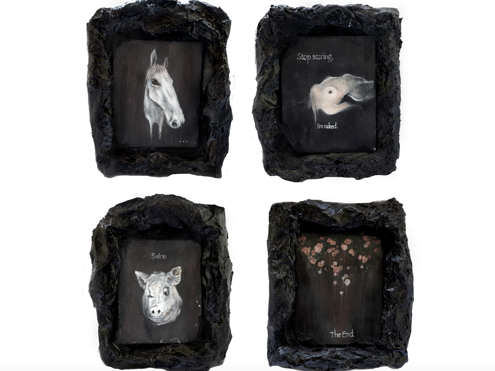 Hoary Fiction Collection ; oil on birch, resin, mache