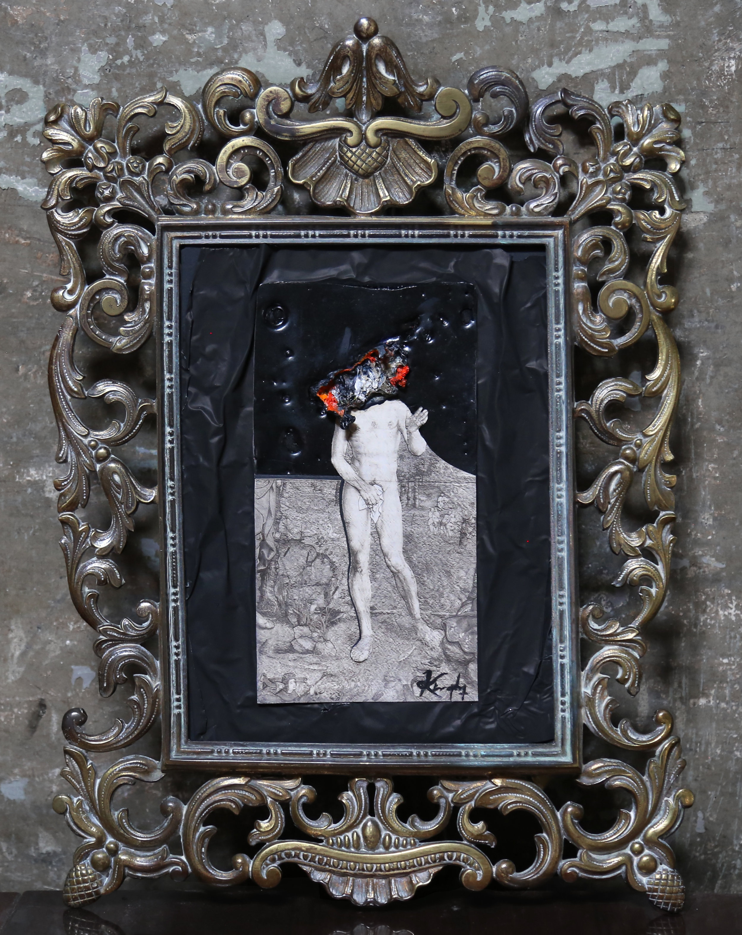 Solicitude - Oil, Paper, Tin & Antique Frame 28cm x 36cm