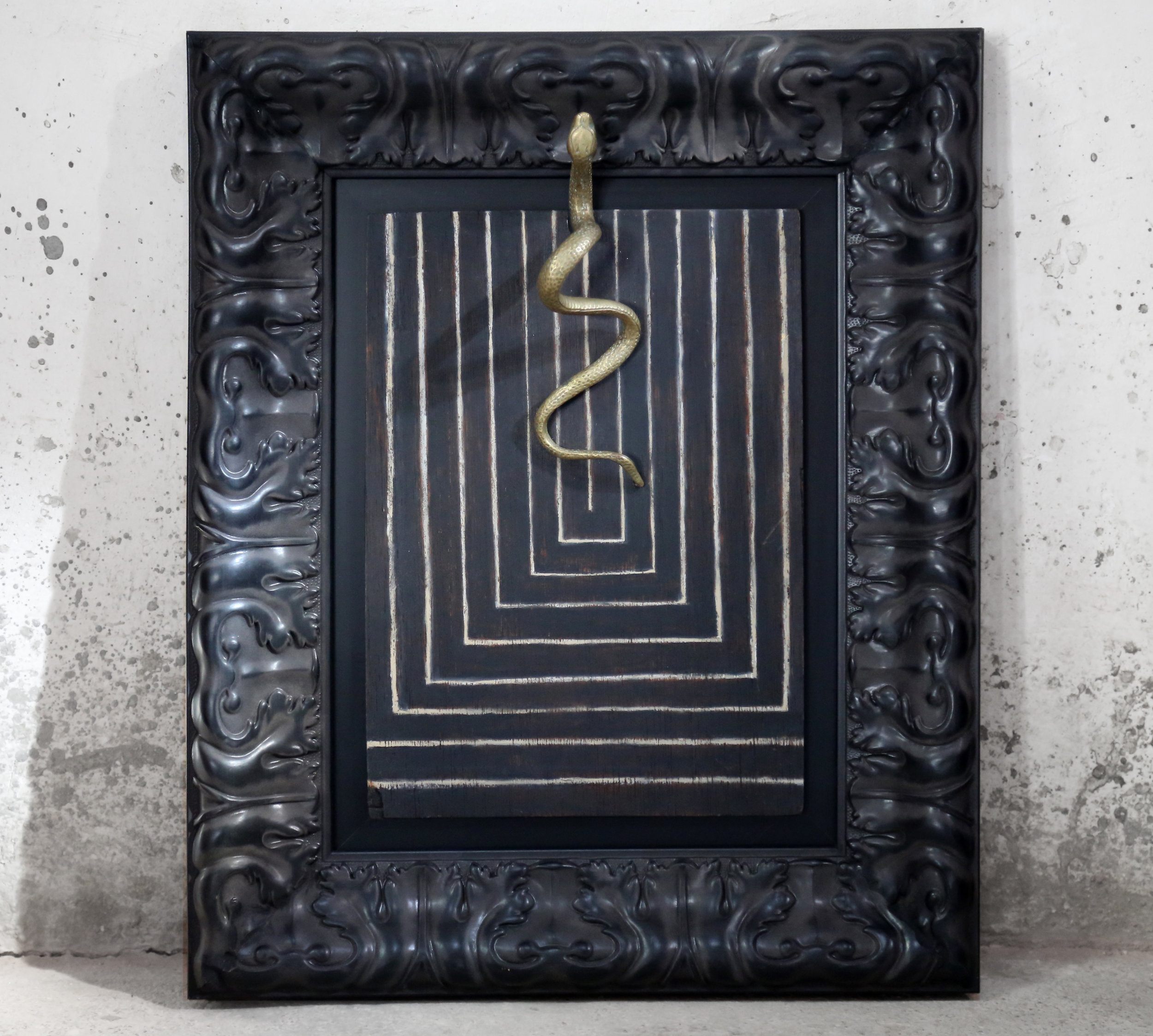 Inherent Structure - oil & brass on wood 39cm x 47cm