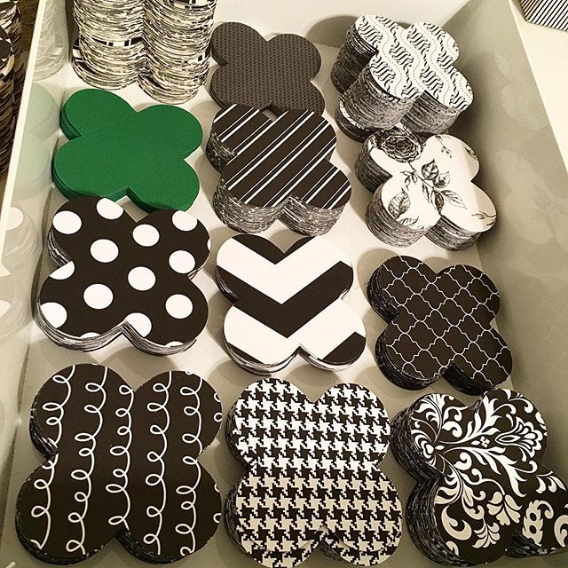 Black and white mix and match. And a hint of green. For a special bridal shower