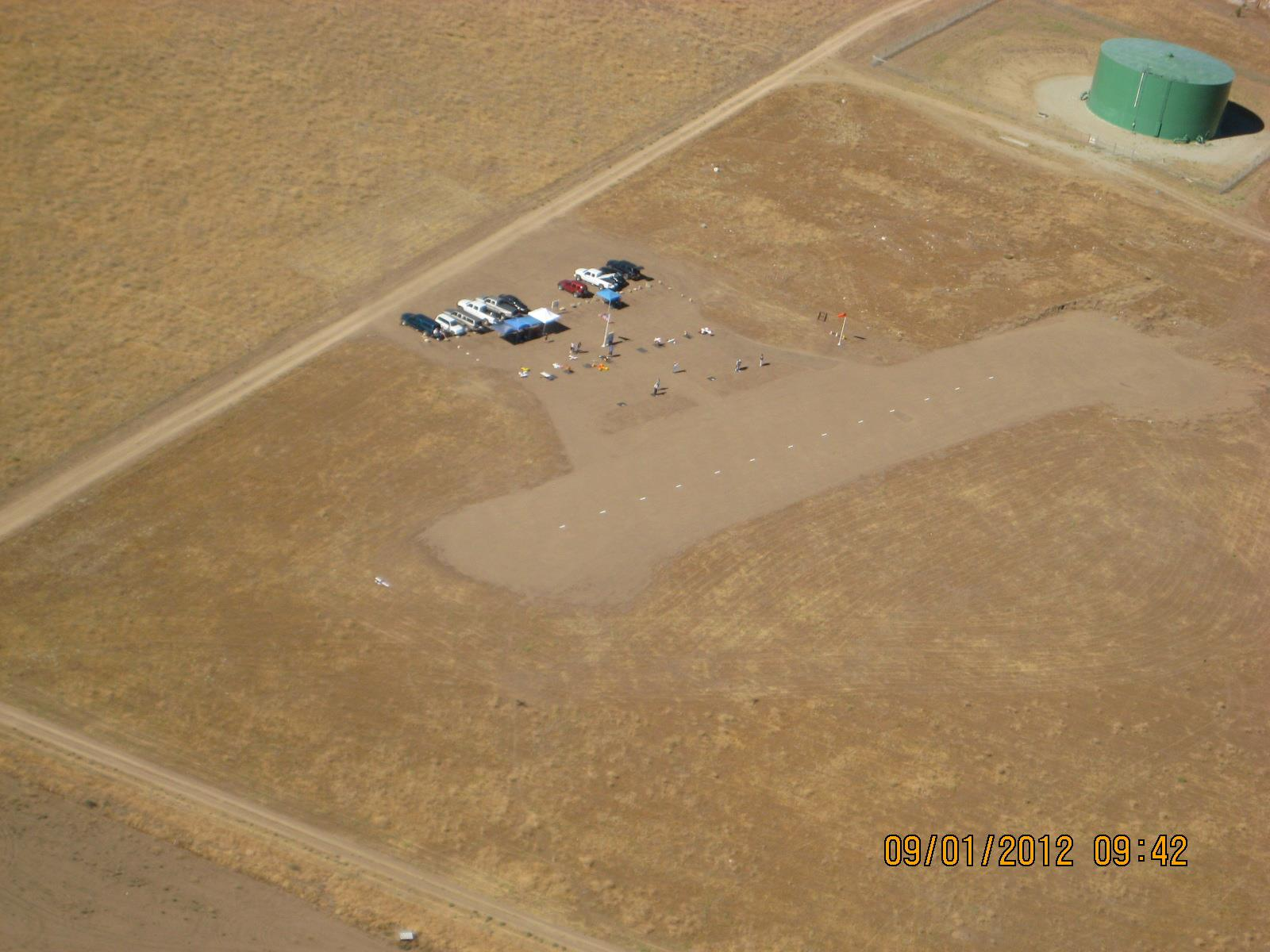 Early aerial view of Tehachapi Crosswinds flying field. Runway has been expanded since this photo.