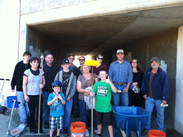 Tehachapi Crosswinds members remove graffiti from under the bridge at Meadowbrook Park walking/bicycling trail, 2012.