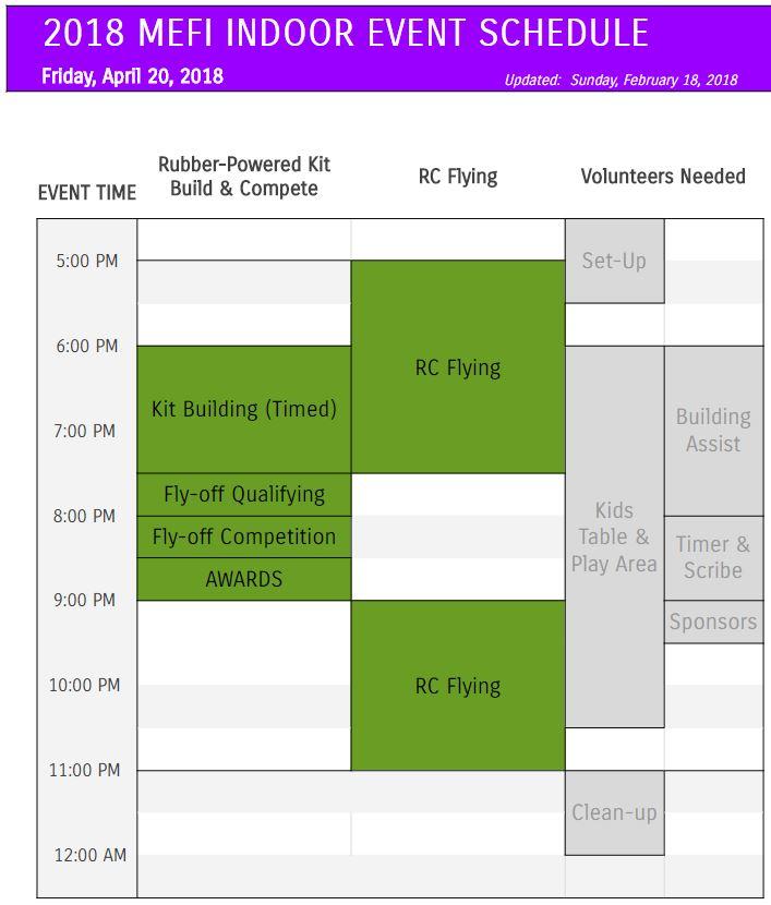 MEFI 2018 Indoor Event Schedule - Daily schedule.JPG