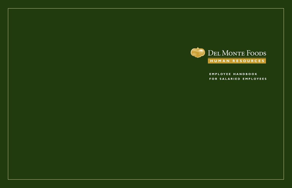 Del Monte Foods Employee Handbook