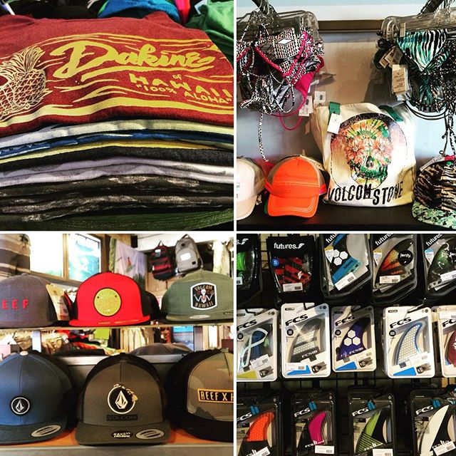 Christmas came early!!! Racks are stocked full with new gear. @dakine_surf @fcs_surf @volcom @futuresfins