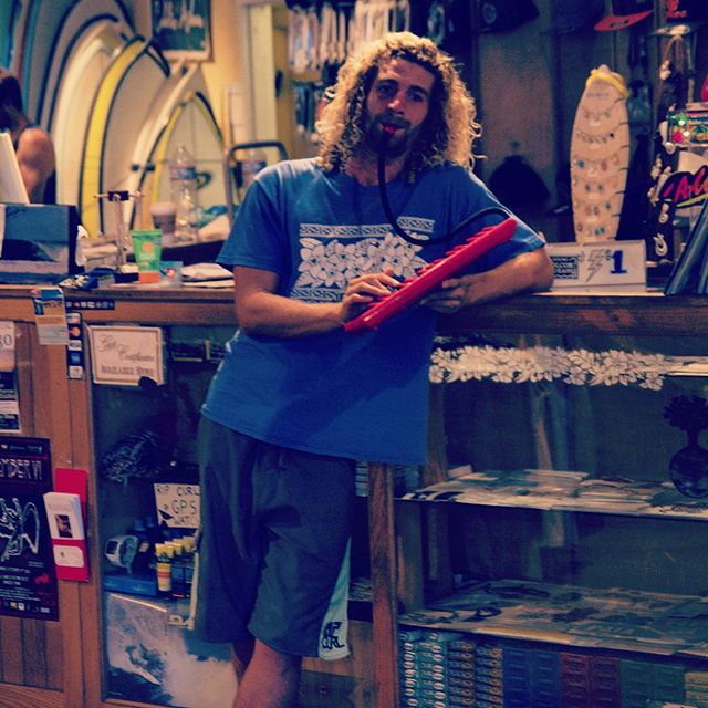 """Live music almost every night at the shop. Travis, putting his own spin on """"Whistle While You Work"""""""