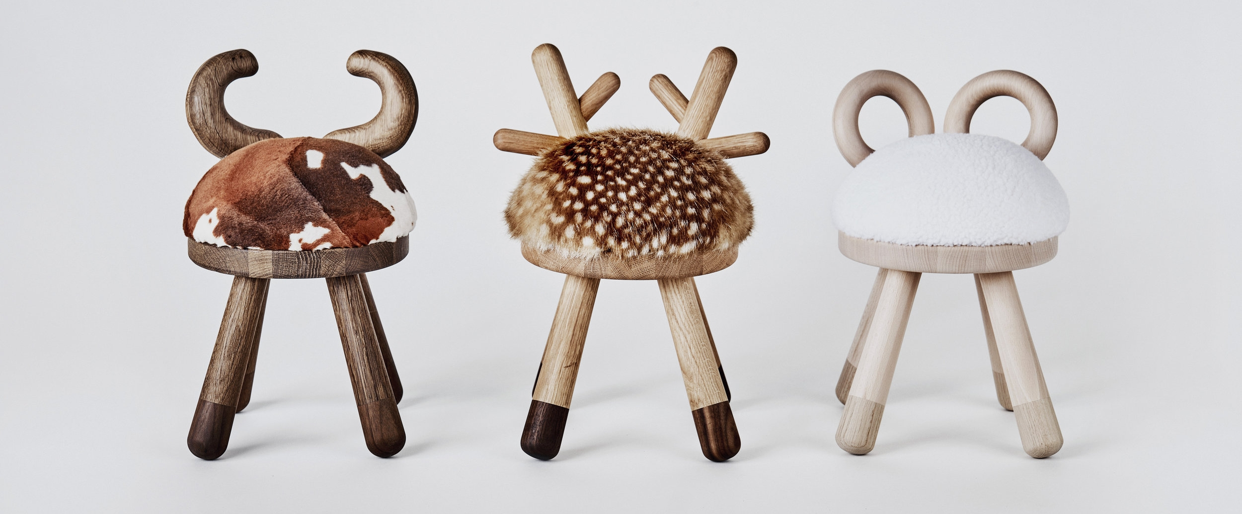Cow, Bambi and Sheep chairs