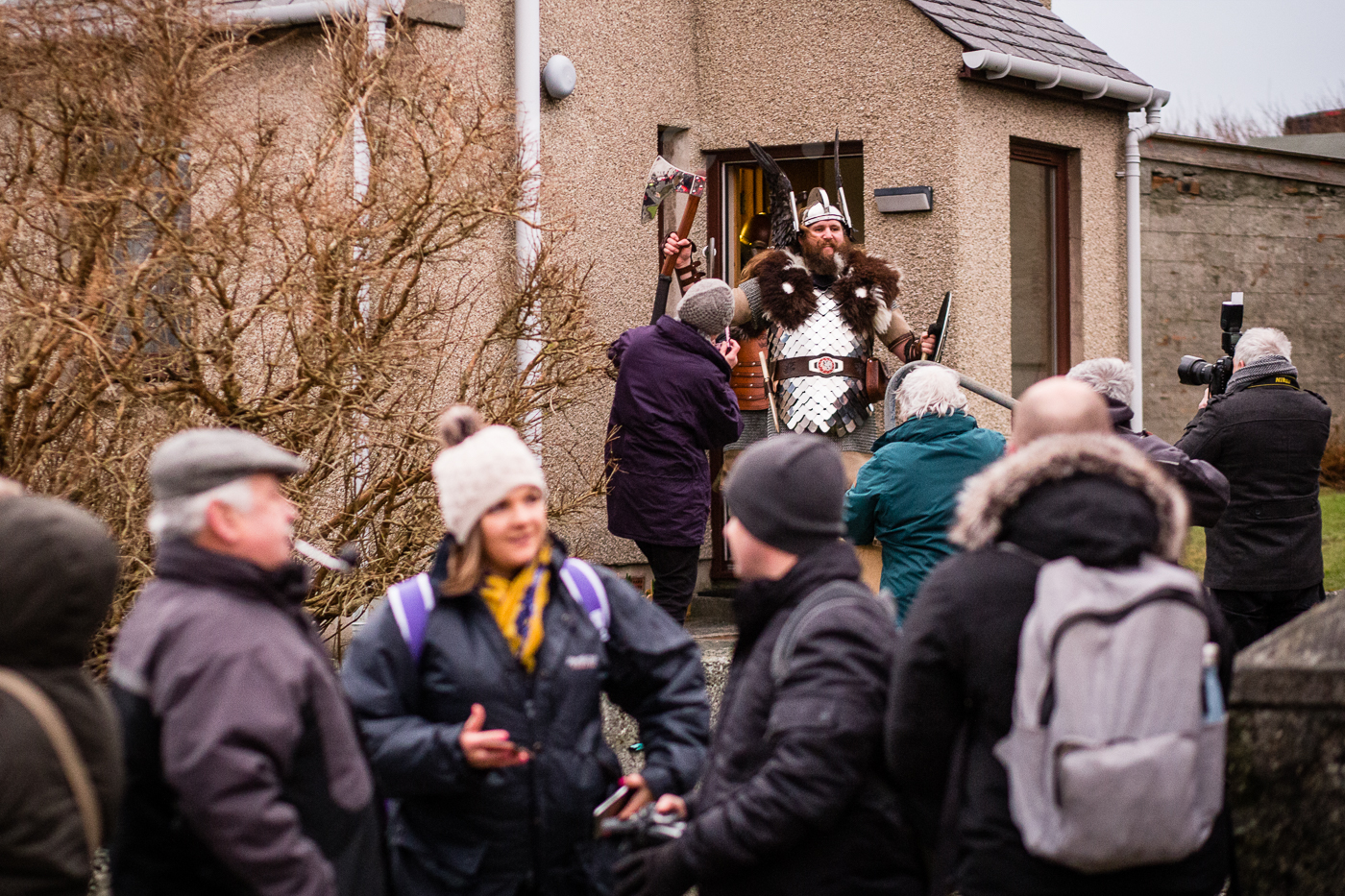 Visiting Jarl Lyall Gair's granny during the morning procession.