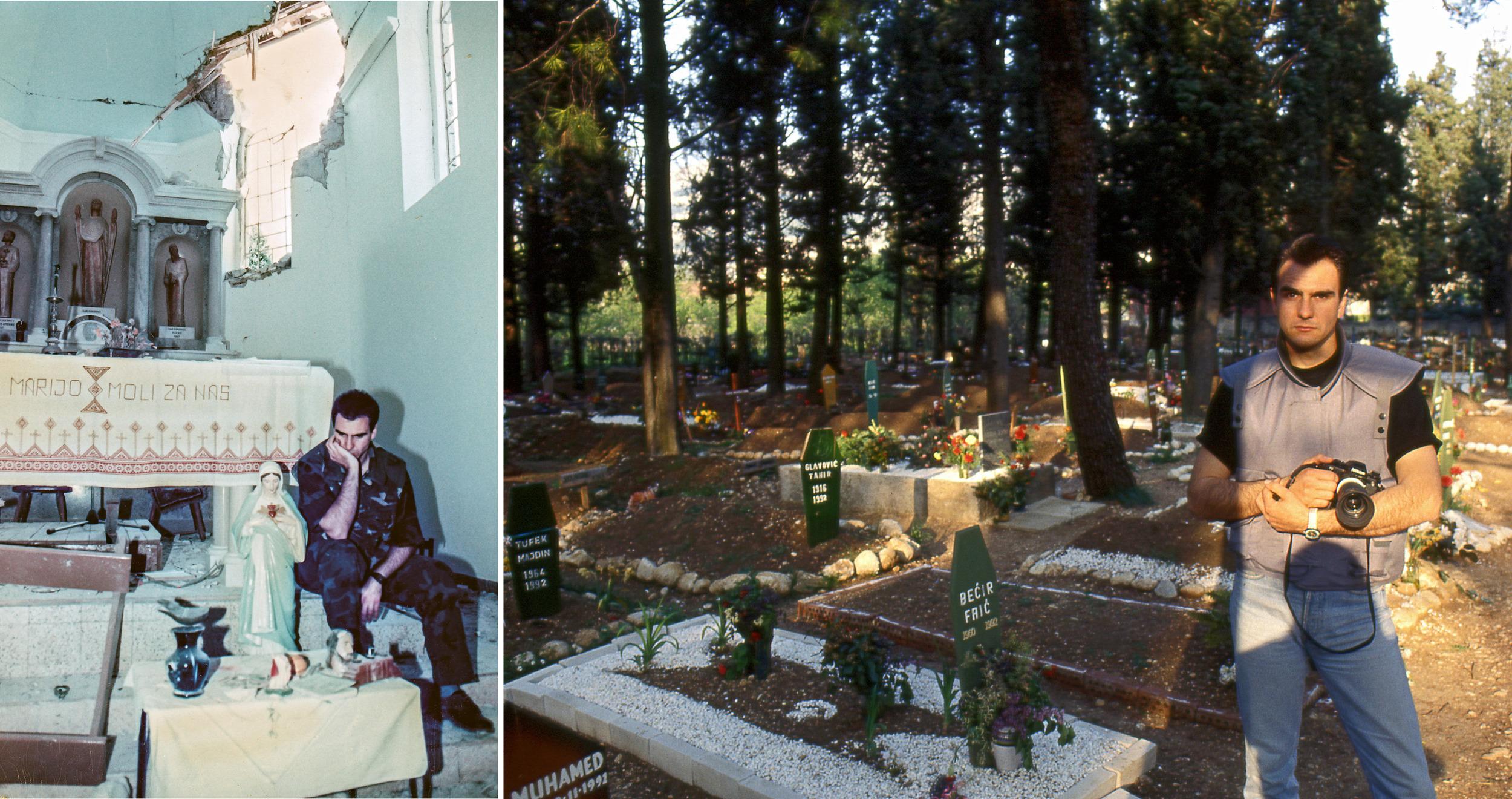 In shelled Church during the war in Croatia. The war in Bosnia, the Muslim cemetery.