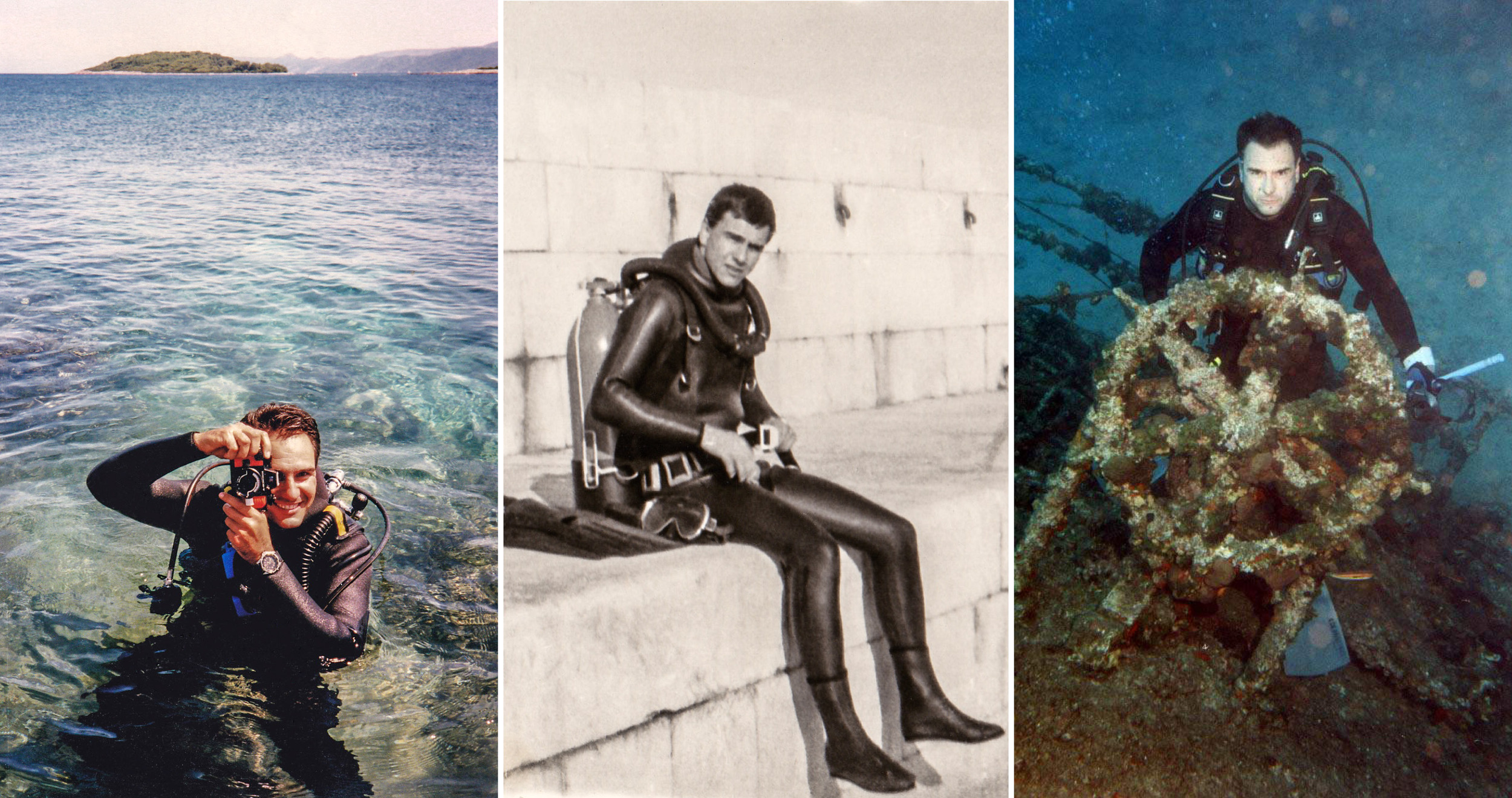 """Mario has extensive experience in diving in central Dalmatian islands.  He completed his diving training in the military (navy seal) at the age of 18.  Mario at he stern of wreck """"Teti"""" a cargo steamship, built in 1883 in Hoboken, USA at depth 34 meters."""