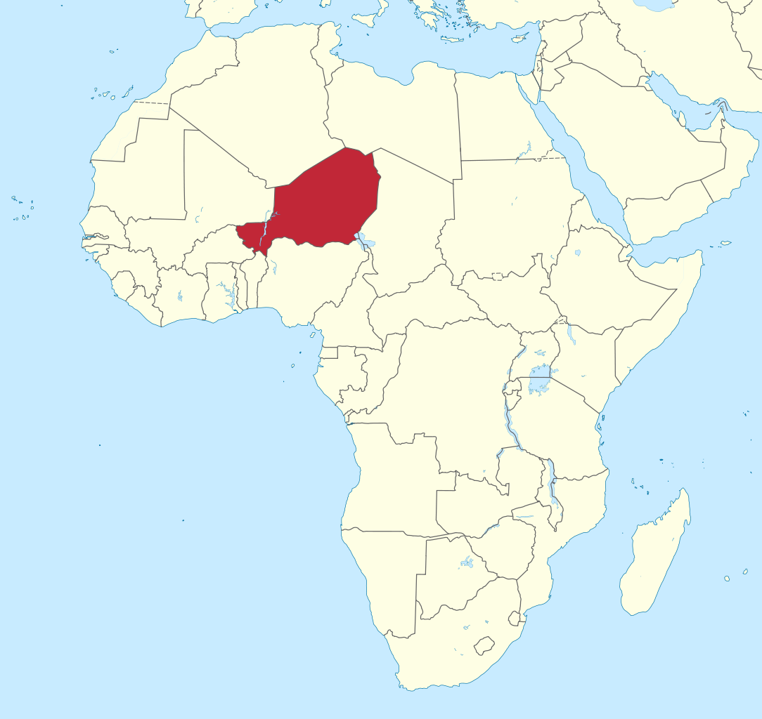 Map showing location of Niger in Northern Africa