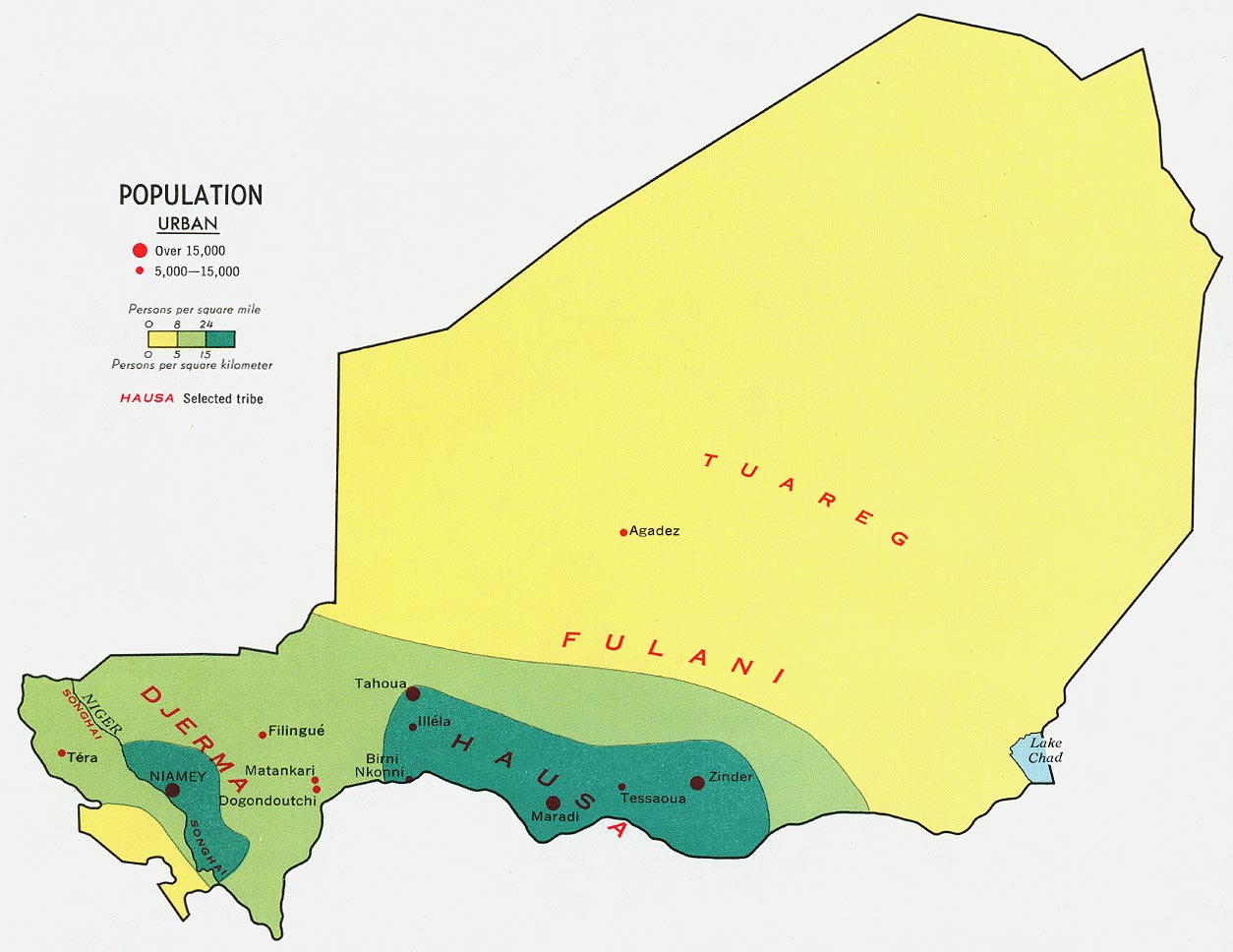 Map showing population density and distribution in Niger